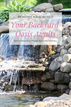 How to build a backyard water garden pond. You will be enjoying your own waterfall with the soothing sounds of rushing water right in your own backyard. Garden Pond, Easy Garden, Water Garden, Ponds Backyard, Backyard Landscaping, Koi Ponds, Pond Kits, Garden Waterfall, Rock Waterfall