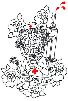Nurse Tat New Tattoo Designs, Nurse Art, Drawing Sketches, Drawings, Vintage Nurse, Cool Tats, Chicano Art, Future Tattoos, Skin Art