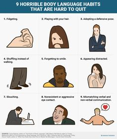 9 horrible body language habits that are hard to quit, Business Insider - Business Insider Singapore Psychology Today, Psychology Facts, Effective Communication, Communication Skills, Confident Body Language, Reading Body Language, Criminology, Facial Expressions, Life Skills