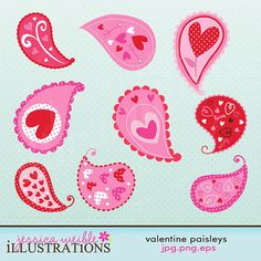 Valentine Paisleys Cute Digital Clipart for Card Design, Scrapbooking, and Web Design