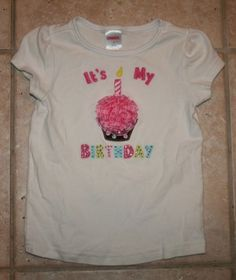 Gymboree-Girls-Size-4-Its-My-1-Birthday-Cupcake-Short-Sleeve-Top
