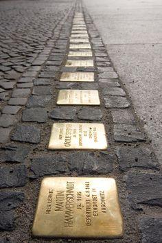 Stolperstein: Gunter Demnig's Cobblestone Memorials   wonderful tribute to Holocaust victims in situ.