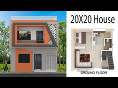 House design 400 sqft House with elevation by nikshail Double Story House, Two Story House Design, Village House Design, Kerala House Design, House Front Design, Small House Design, 20x30 House Plans, 3d House Plans, Indian House Plans