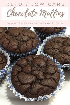 These low carb and keto dark chocolate muffins are moist and sure to satisfy chocolate cravings and any sweet tooth. Keto Dark Chocolate Muffins - Keto Dark Chocolate Muffins - The Birch Cottage Low Carb Desserts, Low Carb Recipes, Dessert Recipes, Diet Recipes, Vegetarian Recipes, Morning Glory Muffins, Muffins Blueberry, Keto Postres, Starting Keto Diet