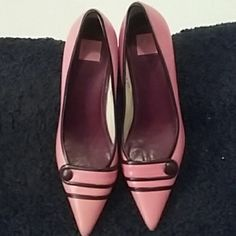 Coach pumps Size 6 1/2 pink and brown coach pumps Coach Shoes Heels