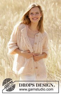 Summer Peach Jacket - Knitted jacket in DROPS Air and DROPS Brushed Alpaca Silk. Knitting Blogs, Knitting Patterns Free, Free Knitting, Free Pattern, Crochet Patterns, Finger Knitting, Scarf Patterns, Knitting Machine, Drops Design