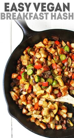 Yummy veggie breakfast hash made with potatoes, beans, zucchini, and more. Healthy and easy breakfast idea. #karissasvegankitchen #veganbreakfast