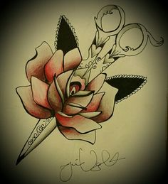 Hairstylist traditional rose tattoo