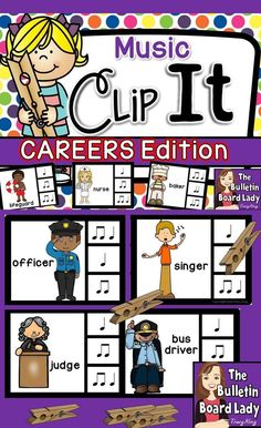 Music Clip It Careers Edition is great for music workstations, assessment, sub plans, individual work and more! 44 different careers are matched with rhythm patterns. Just add clothespins for an awesome activity your students will love.