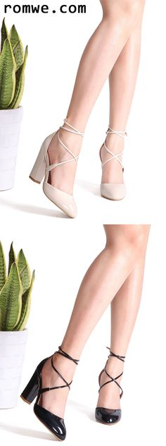 Criss Cross PU Chunky Heels