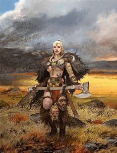 f Barbarian Battle Axe plains hills Blood Rage artwork by Adrian Smith twin med High Fantasy, Fantasy Women, Fantasy Rpg, Medieval Fantasy, Fantasy Artwork, Fantasy Warrior, Fantasy Character Design, Character Art, Fantasy Inspiration