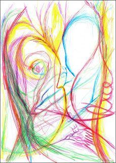 Kevin Mühlfort: Message to Alice  Buntstift auf Papier - 2016 Message to Alice war das erste Werk, dass ich 2016 nach langen Jahren kreativer Selbstfindungsphase gezeichnet habe. Es stellt den neuen Start in die Welt der bildenden Kunst dar.  Es zeigt ein ungeborenes Kind im Bauche seiner Mutter, welche vom Vater des Kindes schützend in den Armen gehalten wird.