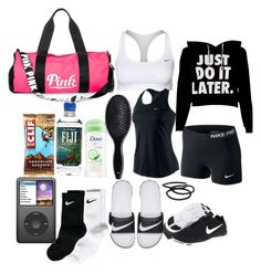 """what's in my volleyball bag #3"" by kitty-ma ❤ liked on Polyvore featuring NIKE, Victoria's Secret PINK, H&M and Goody"
