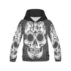 black and white Skull Men's All Over Print Hoodie (Model H13)