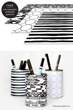 Maiko Nagao: DIY: Organizer cans & free printable wrappers by Maiko Nagao