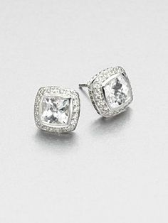 David Yurman Diamond Accented White Topaz Sterling Silver On Earrings