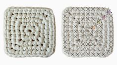 Cesto de trapillo cuadrado con patrón | Manualidades