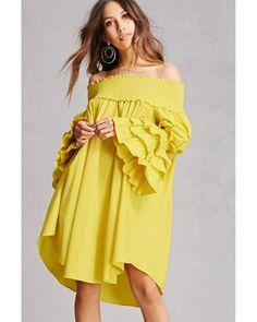 6128b4f8646801 Forever 21 | Yellow Tiered Bell Sleeve Mini Dress | Lyst Green Cardigan,  Dress P