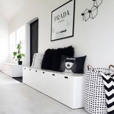 Ikea hallway storage best ideas on small entrance with bench decor hacks furniture canada . White Storage Bench, Entryway Bench Storage, Ikea Storage, Playroom Storage, Wall Storage, Ikea Bench, Storage Benches, Gun Storage, Storage Cabinets