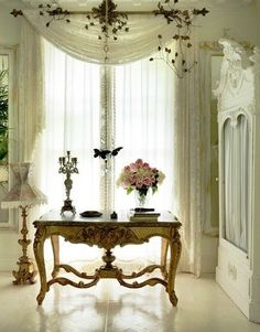 Gypsy Purple home. on we heart it / visual bookmark on imgfave French Chic, French Decor, French Country Decorating, Purple Home, Window Sheers, Lace Window, Lace Curtains, Drapery, Valance