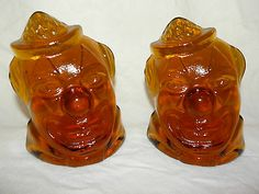 Vintage Wheaton Amber Glass Bookends