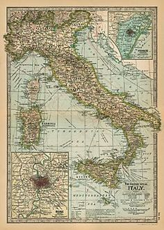 Cavallini Italy Map Wrapping Paper POwder rom ARtwork
