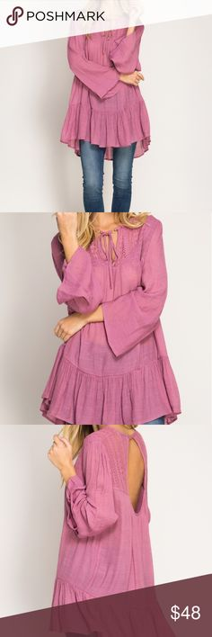 "🌺Closet Clear Out🌺Long Bell sleeve tunic Mauve Pink long sleeve tunic top with smocking and lace yoke. Available in 3 sizes.  70%COTTON,  30%POLYESTER  WOVEN DRESS Measures: S- Bust flat 21""; Shoulders 14.5""; Length 30"" M- Bust flat 22""; Shoulders 15""; Length 31"" L- Bust flat 22.5""; Shoulders 16""; Length 31.5"" She and Sky Tops Tunics"