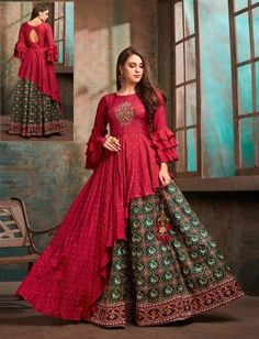 Party Wear Indian Dresses, Indian Gowns Dresses, Party Wear Lehenga, Indian Fashion Dresses, Dress Indian Style, Indian Designer Outfits, Lehenga Suit, Designer Dresses, Lehenga Top