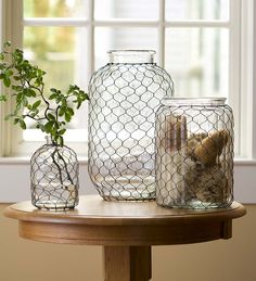 Large Pickle Jar Chicken Wire Glass Vase | Collection Accessories