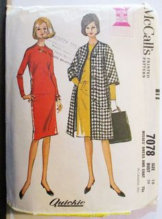 1960s Vintage Sewing Pattern McCalls 7078 Misses Dress & Coat Pattern Size 16 Bust 36 by SewYesterdayPatterns on Etsy