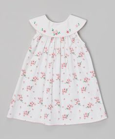 Look what I found on #zulily! White & Pink Floral Yoke Dress - Infant & Toddler #zulilyfinds