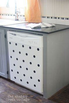 DIY Polka dot Dishwasher - Rowan would totally pull these off, but it's still adorable.