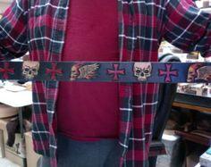 Belt / Leather / Custom / Hand Carved and Tooled / Biker / Skulls and Celtic Cross /  Hand Made / Men / Black / 2 inch wide leather