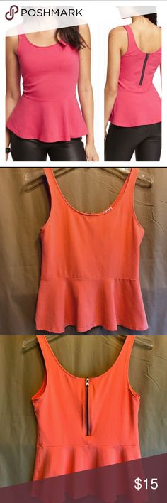 Express Peplum Tank Top Sexy and chic Express Peplum Tank Top in a peach color 🍑it's very soft and comfortable with a partial zipper in the back.  Size M.  This could be matched with jeans for a more casual look, or dressed up with a skirt and heels.  It is in good used condition, with some gentle wear from previous use. Express Tops Tank Tops