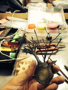 copper, brooch, motive : tree(twig) coloring