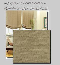 Burlap roman shades