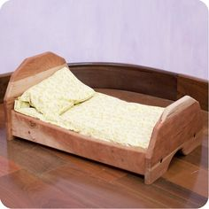 Cherry Wood Doll Bed with Bedding