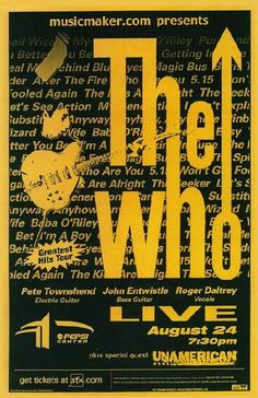 Concert poster for The Who at The Pepsi Center in Denver, CO in 1 x 17 inches on card stock. Music Flyer, Concert Flyer, Tour Posters, Band Posters, Pop Rock, Rock N Roll, Norman Rockwell, Vintage Concert Posters, We Will Rock You