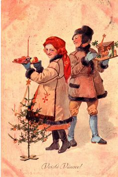 Vintage Traditional Czech and Slovak Christmas Card ~ Peach & Orange Details Vintage Christmas Cards, Vintage Cards, Vintage Postcards, Antique Christmas, Christmas Scenes, Kids Christmas, Christmas Goodies, Antique Pictures, Old Fashioned Christmas