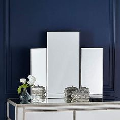 Rejuvenate your dressing table with this contemporary standing mirror, crafted with a set of three mirrors in an elegantly simple design, perfect for providing a modern practical and decorative finish to your bedroom. Ikea Dressing Table, Dressing Table With Stool, Dressing Table Mirror, Dressing Room, Glitter Bedroom, Mirror Bedside Table, Living Room Mirrors, Bedroom Mirrors, Products