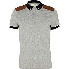 Grey marl shoulder patch polo shirt - polo shirts - t-shirts / vests - men ($1-20) - Svpply