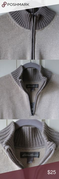 Eddie Bauer 100% Cotton Zip Front Sweater Brand new - with tags - Eddie Bauer 100% cotton zip-front sweater - size XL. Retails for $59.99. Color is a warm beige with brown-gray ribbing at neck, cuffs and bottom. Heavy cotton - machine wash - tumble dry. Eddie Bauer Sweaters Turtleneck