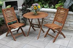 """30"""" Eucalyptus Bistro Table and Folding Chairs"""