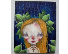 folk art Original girl painting whimsical mixed by thesecrethermit
