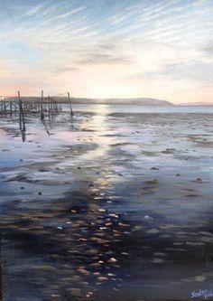 Sunset over Brownsea Island Bird Artists, Celestial, Island, Sunset, Gallery, Beach, Water, Artwork, House