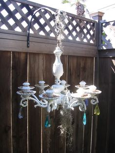 A cute way to recycle an old chandelier.
