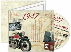 20 Songs from 1937 in a Retro-style Greeting Card - 75th Birthday Gift by The CD Card Company. $12.00. 20 classic tracks from the year you were born in a groovy birthday card.. A range of deluxe dual fold greeting cards, each one including an exclusive 20-track music compilation of original hit recordings by the original artists. Browse our ranges below to find an ideal card and gift in one for birthdays, anniversaries or any special day. This unique, deluxe greeting card fea...