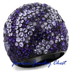 Purple Sparkle Ion Black Plated Stainless Steel Ring