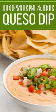 This easy, creamy, and spicy queso dip is so simple to make, you'll serve it at every football party or friendly get together from today until the end of time. It's that good! The secret to a creamy luscious queso? Cream cheese. Now go get some chips! Your dip is waiting! #gamedaysnacks #queso #gamedayappetizers #chipsanddip #simplyrecipes Game Day Appetizers, Game Day Snacks, Yummy Appetizers, Appetizer Recipes, Simply Recipes, Dip Recipes, Cooking Recipes, Easy Recipes, Christmas Recipes Dinner Main Courses