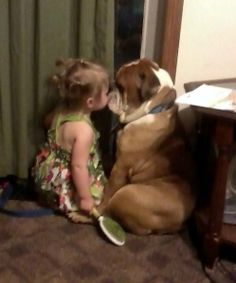 ❤ Spartacus listening to Kenzie ~ always promising to keep those secrets safe! ❤ Posted on English Bulldog News (Just an example of how great bullies are with children! Animals And Pets, Baby Animals, Funny Animals, Cute Animals, I Love Dogs, Puppy Love, Cute Dogs, Bulldog Puppies, Dogs And Puppies